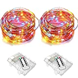 Firstbuy 2 Set Fairy String Lights, Battery Powered Waterproof Colorful 8 Modes Twinkling 50 Led 16.4ft Copper Wire Remote Control Firefly Lights for Party Weeding Garden Home Decoration, Multi Color