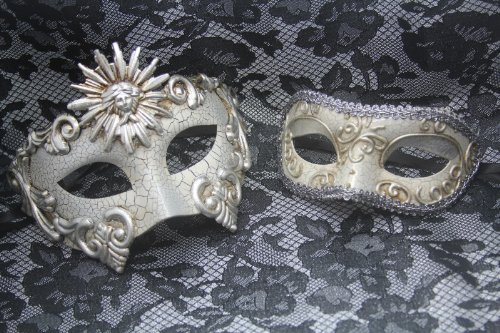 Venetian Phantom Silver Couple Vintage Masquerade Carnival Costume Mask (Carnival Inspired Costumes)