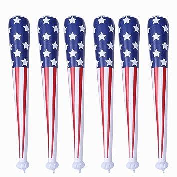 NUOBESTY 6 Piezas Bate Inflable Bandera Americana Bate de béisbol ...