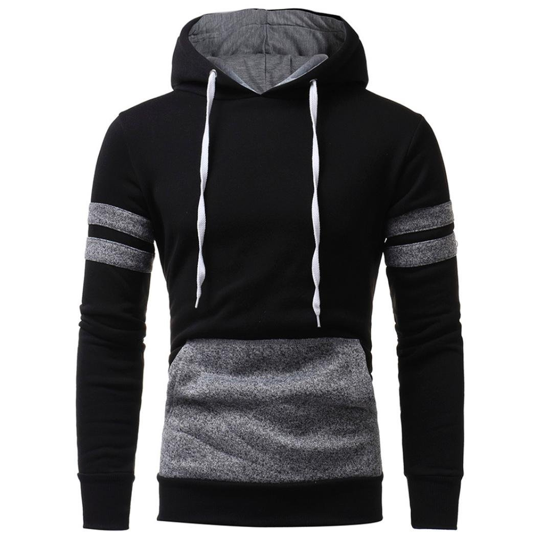 Teresamoon Clearance Sale ! Hooded Sweatshirt Mens' Hoodie Tops Jacket Coat Outwear (M, Black)