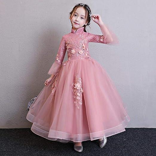 CYDKZMEPA Vestido de Novia de niña de Flores de Estilo Chino ...