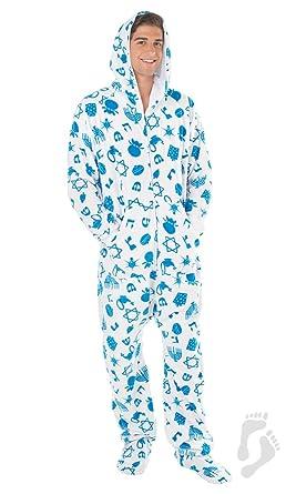 Footed Pajamas - Hanukkah Fun Adult Hoodie One Piece - Medium Plus/Wide