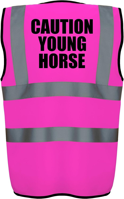 Hi Vis Hi Viz High Visibility Reflective Safety Vest//Waistcoat CAUTION YOUNG HORSE Yellow//Pink