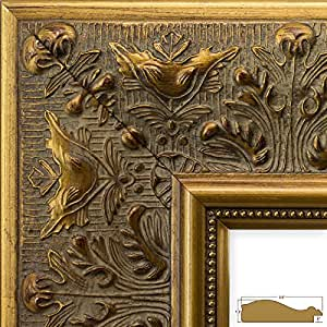Craig Frames 9472 16 by 20-Inch Picture Frame, Ornate Finish, 3.5-Inch Wide, Weathered Gold