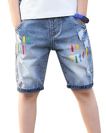Jungen Kurze Jeans Hosen Ripped Jeans-Shorts Elastische Taille Bermuda  Shorts Denim Blau 110 8e032da9b7