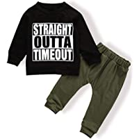 TUEMOS Newborn Toddler Baby Boy Clothes Long Sleeve Funny Letter Sweatshirt Top + Camouflage Pants Outfit Set