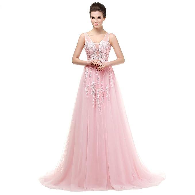 Ever Love@ Princess cuello cepillo de noche largo tren vestidos de ...