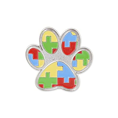 Amazon.com: WIZARDPINS Paw Print Autism Color Puzzle Pieces Lapel Pin  1 Pin:  Jewelry
