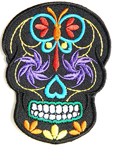 Butterfly Sugar Skull Day of the Dead Punk Rock Hippie Lady Rider Logo Biker Jacket T shirt Patch Sew Iron on Embroidered Badge Custom
