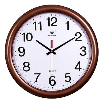AIZIJI Reloj de pared Reloj creativos dibujo silenciar todo tipo de calendarios electrónicos grandes relojes reloj de cuarzo de 33cm.: Amazon.es: Hogar
