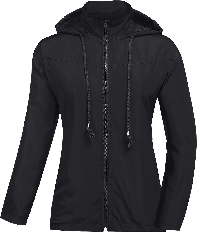 UUANG Womens Lightweight Rainjacket Waterproof Raincoat Active Outdoor Hooded Windproof Zipped Windbreaker Rain Jacket S-XXL