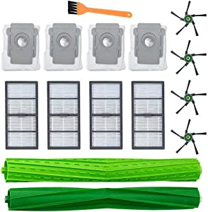 Replacement Parts Fit for iRobot Roomba s9 (9150) s9+ s9 Plus (9550) s Series Wi-Fi Connected Robot Vacuum Kits (4 Filters, 4 Bags, 4 Side Brushes, 1 Brush, 1 Set of Multi-Surface Rubber Brushes)