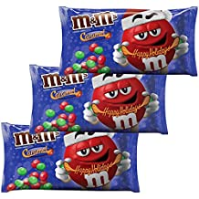 "M&M Solid Milk Chocolate and Caramel Christmas Candy - MMS ""Caramel"" 11.40 Ounces - 3 Pack - Holiday Xmas Candies For Home Work Office School"