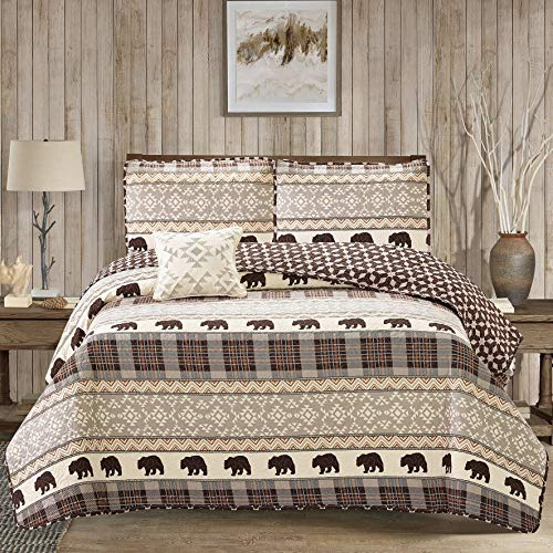 - MISC 4 Piece Brown Tan Cabin Theme Quilt Full/Queen Set Grey White Hunting Pattern Bedding Bear Plaid Flannel Chevron Checked Themed Tartan Criss-Cross Wildlife Forest Outdoors Country, Cotton