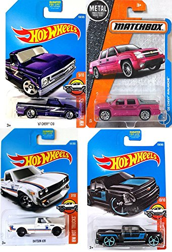 Hot Trucks Pickup Series Datsun 620 White & '67 Chevy C10 Purple / Silverado Black #159 Wheels + Matchbox '02 Chevy Avalanche 4-Pack in Protective Cases