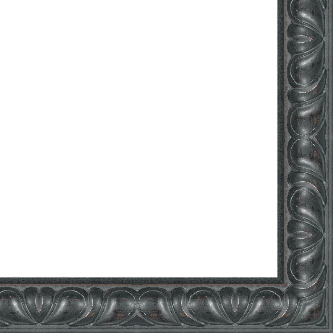Picture Frame Moulding (Wood) 18ft bundle - Distressed/Aged Black Finish - 2.5'' width - 3/4'' rabbet depth