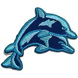 Ecusson - bébé dauphin - bleu - 6.9x4.1cm - patches brode appliques embroidery thermocollant
