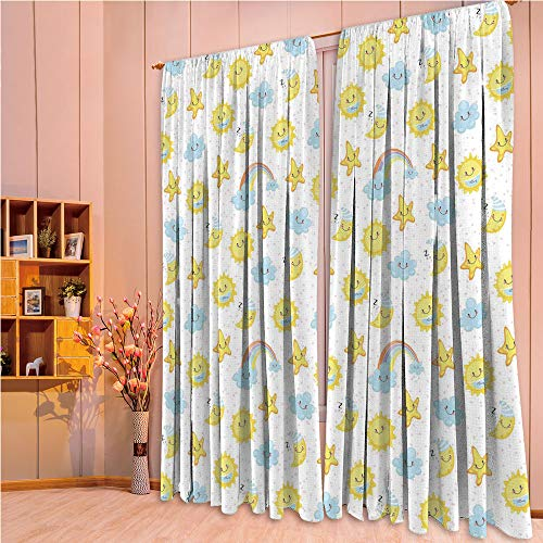 ZHICASSIESOPHIER Modern Style Room Darkening Blackout Window Treatment Curtain Valance for Kitchen/Living Room/Bedroom/Laundry,Good Morning and Night Rainbows Funny Clouds 108Wx84L Inch