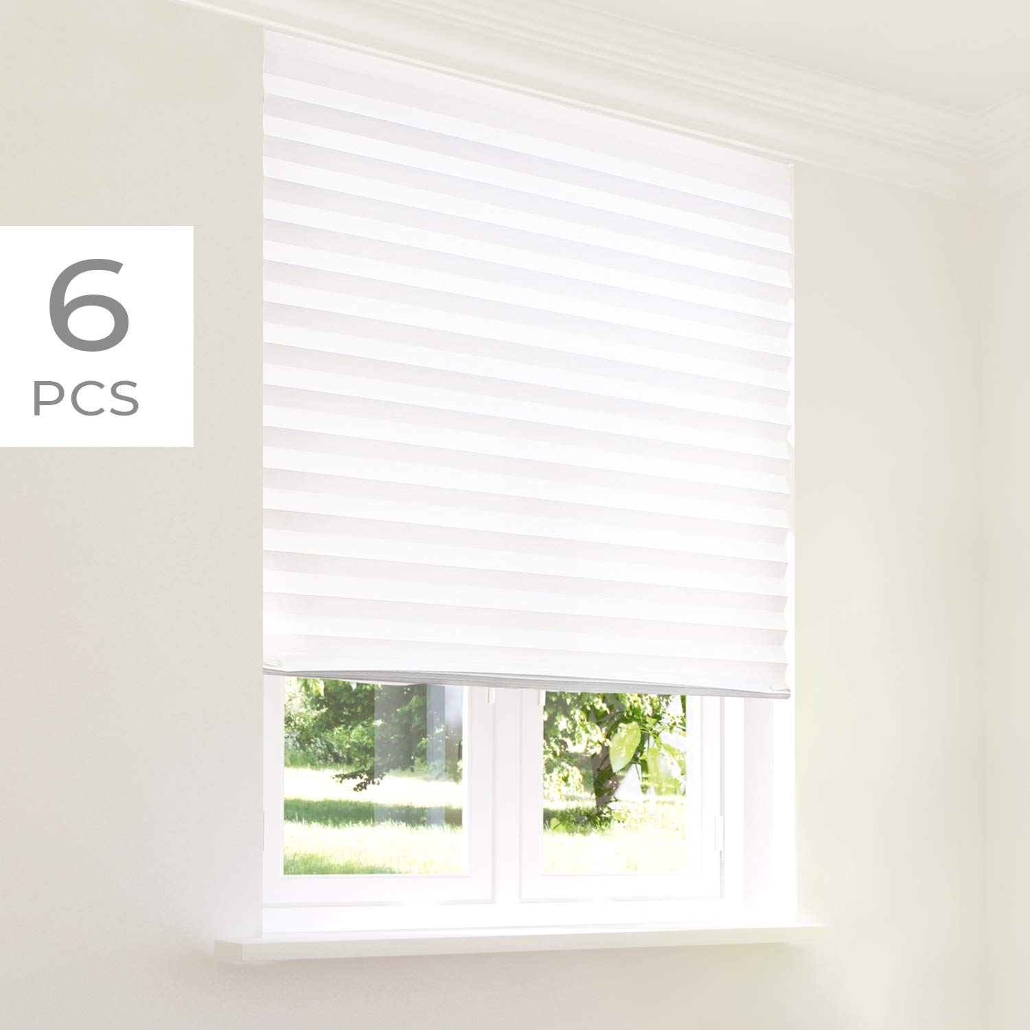 CHICOLOGY Instant Privacy Window Blind Temporary Shades (6-Pack) 36 X 72, 6 Pack (36'' W X 72'' H), Refresh White (Privacy & Light Filtering) by CHICOLOGY
