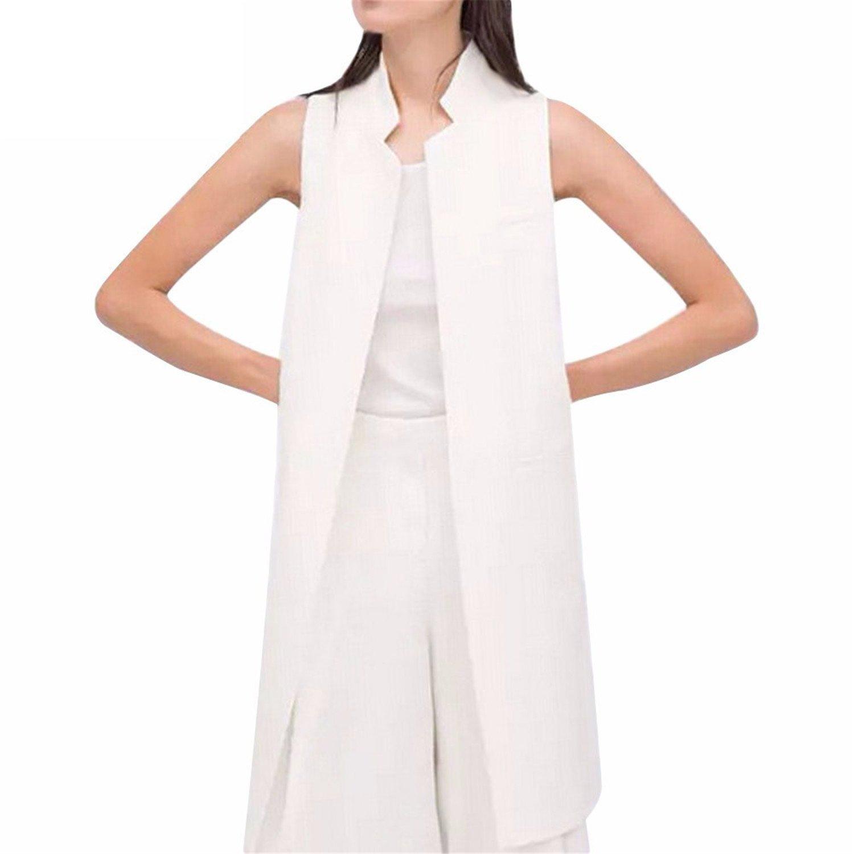 Caseminsto European Fashion Women White Black Long Vest Coat Mandarin Collar Waistcoat Sleeveless Jacket Black Xl