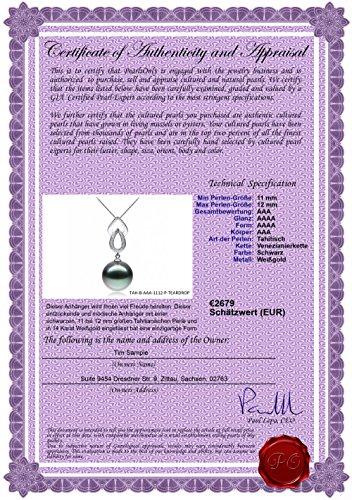 Noir 11-12mm AAA-qualité de Tahiti 585/1000 Or Blanc-pendentif en perles