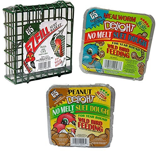 C & S Bird Suet No Melt Case, 2- Suet Blocks Meal Worm Bundled with 2- Peanut Suet Cakes and EZ Fill Suet Feeder Basket Perfect for Wild Birds