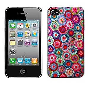 Caucho caso de Shell duro de la cubierta de accesorios de protección BY RAYDREAMMM - Apple iPhone 4 / 4S - Knitting Handycraft Art Fabric Colorful Pattern
