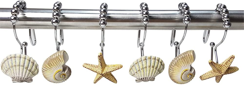 ZILucky Natural Seashell Starfish Beach Shower Curtain Hooks Rings Double Glide Stainless Steel Rustproof Metal Hangers Home Bathroom Fashion Decorative, Set of 12 Hooks