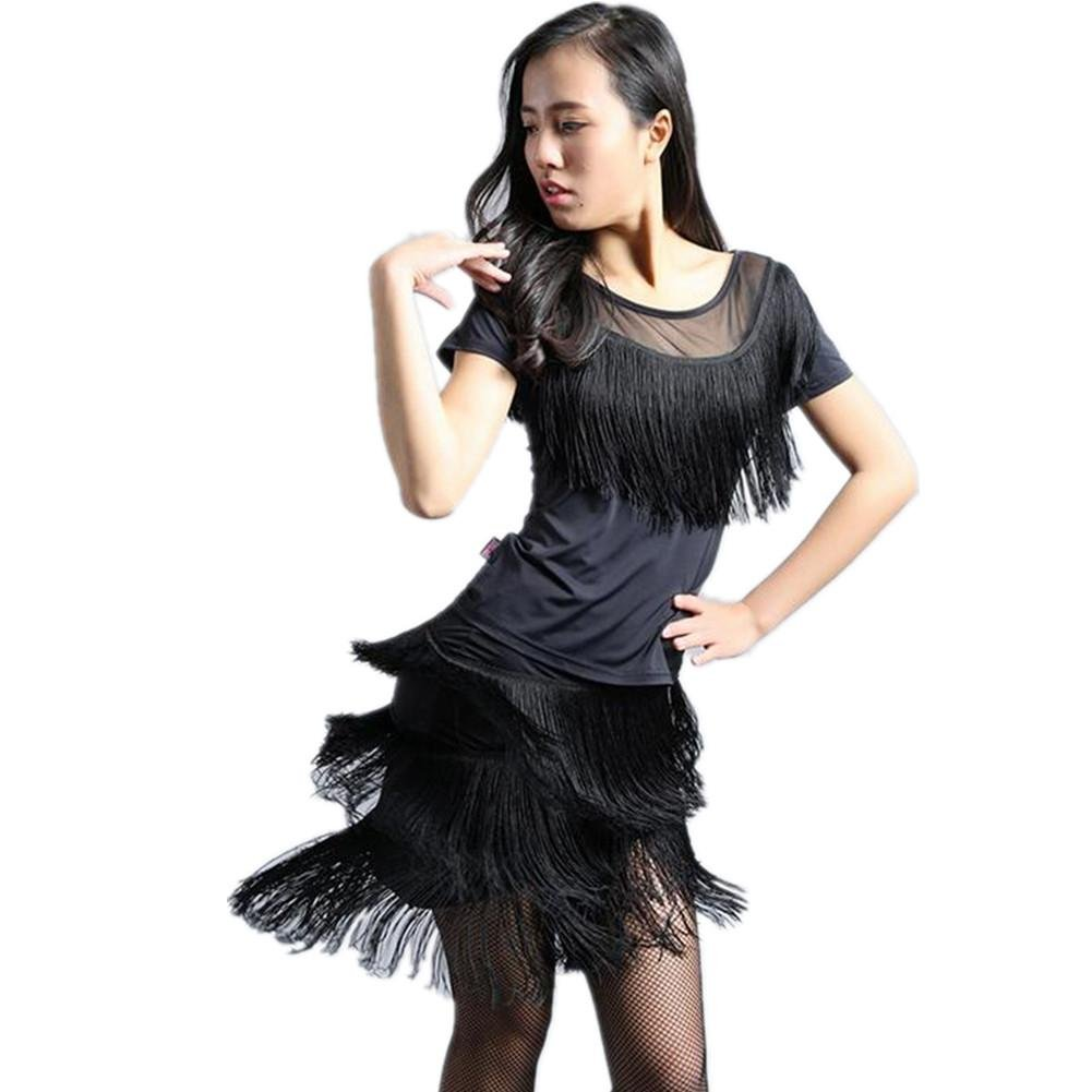 Noir Wgwioo Adulte Convient à des Représentations De La Frange De Vêtements De Danse Latine XXXL