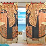 INGBAGS Bedroom Decor Living Room Decorations Retro Ancient Egyptian Art Pattern Print Tulle Polyester Door Window Gauze / Sheer Curtain Drape Two Panels Set 55x78 inch ,Set of 2