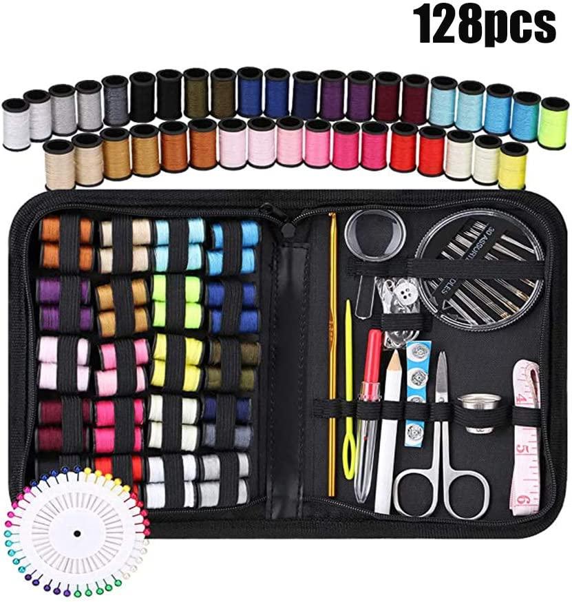 Sewing Kit for Traveler,Best for Beginners,Adults,Starter,Traveller,Professional Sew Kits,DIY Sewing Supplies Organizer Filled with Scissors,Thimble,Thread,Sewing Needles,Tape Measure etc. S