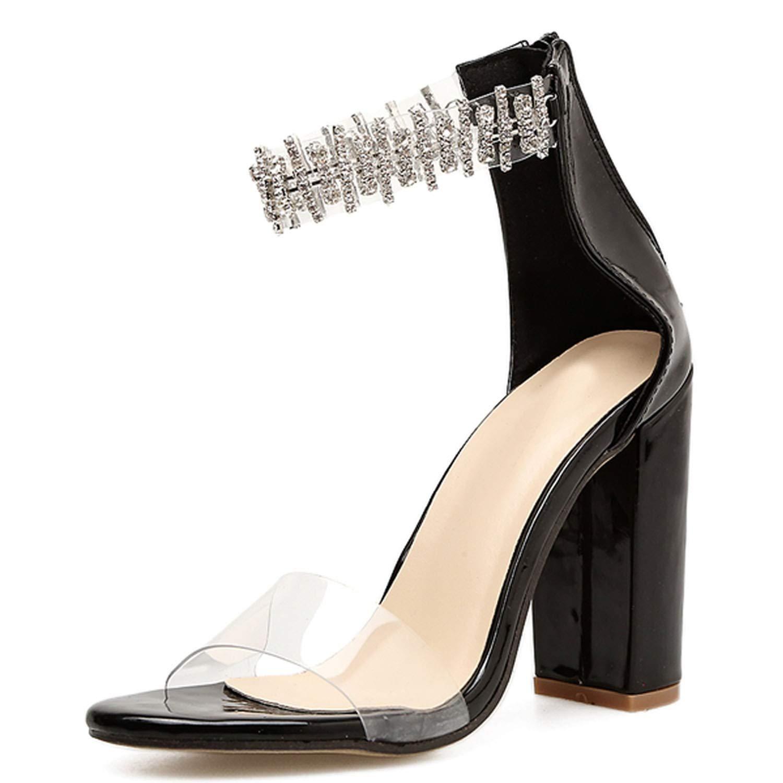 HuangKang Fashion Yellow Women High Heels PVC Clear Crystal Concise Classic Zip Sandals Shoes