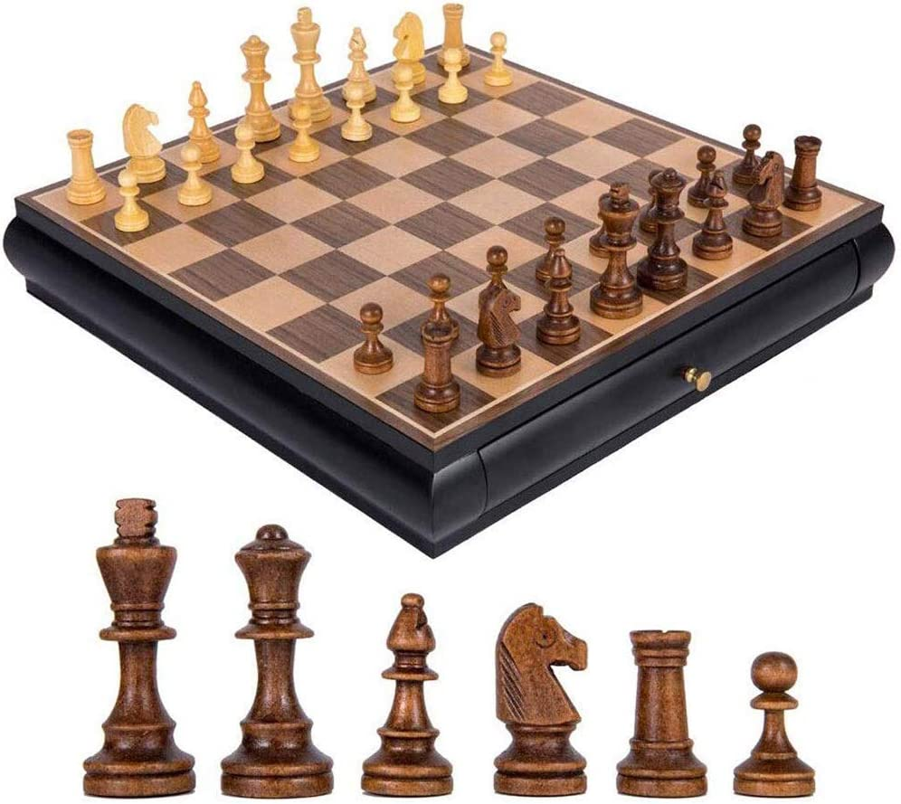 ポータブルチェス木製国際チェスセットピースセットボードゲームチェスマンコレクションポータブルボード旅行ゲームおもちゃギフトチェスゲーム