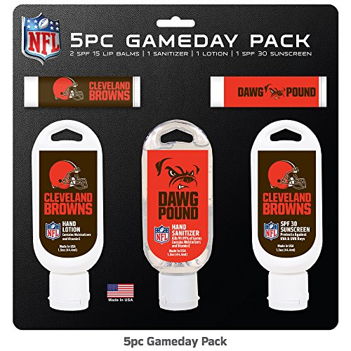 Worthy NFL Cleveland Browns Game Day 5-Pack with 2 Lip Balms, 2 Hand Sanitizers, 1 Hand Lotion