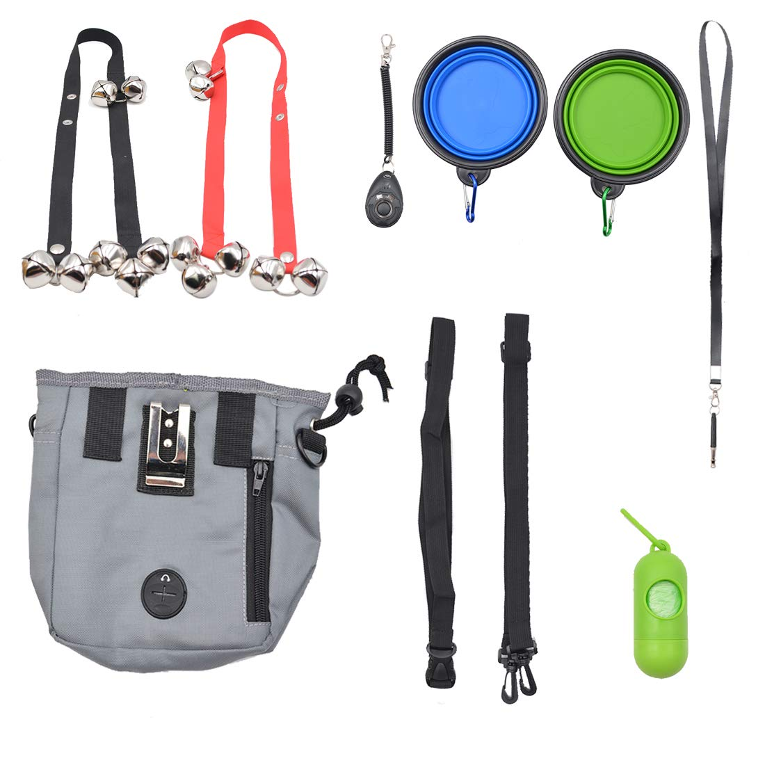 ANREONER Dog Training Kit Set of 8, Dog Treat Pouch, Doggie Doorbell for Potty Training, Collapsible Dog Water & Food Bowl, Puppy Training Clicker and Whistle to Stop Barking, Dog Waste Bag Dispenser by ANREONER