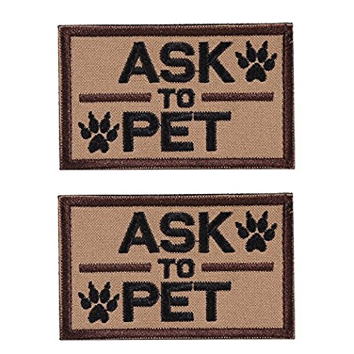 GrayCell Ask to Pet Dog Embroidered Tactical Morale Patch Badge for Dog Harness & Vest- Set of 2