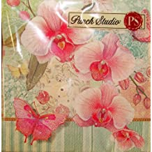 Punch Studio Boutique 20 Ct Paper Beverage Cocktail Napkins, Orchid Tapestry Spring Easter Butterfly