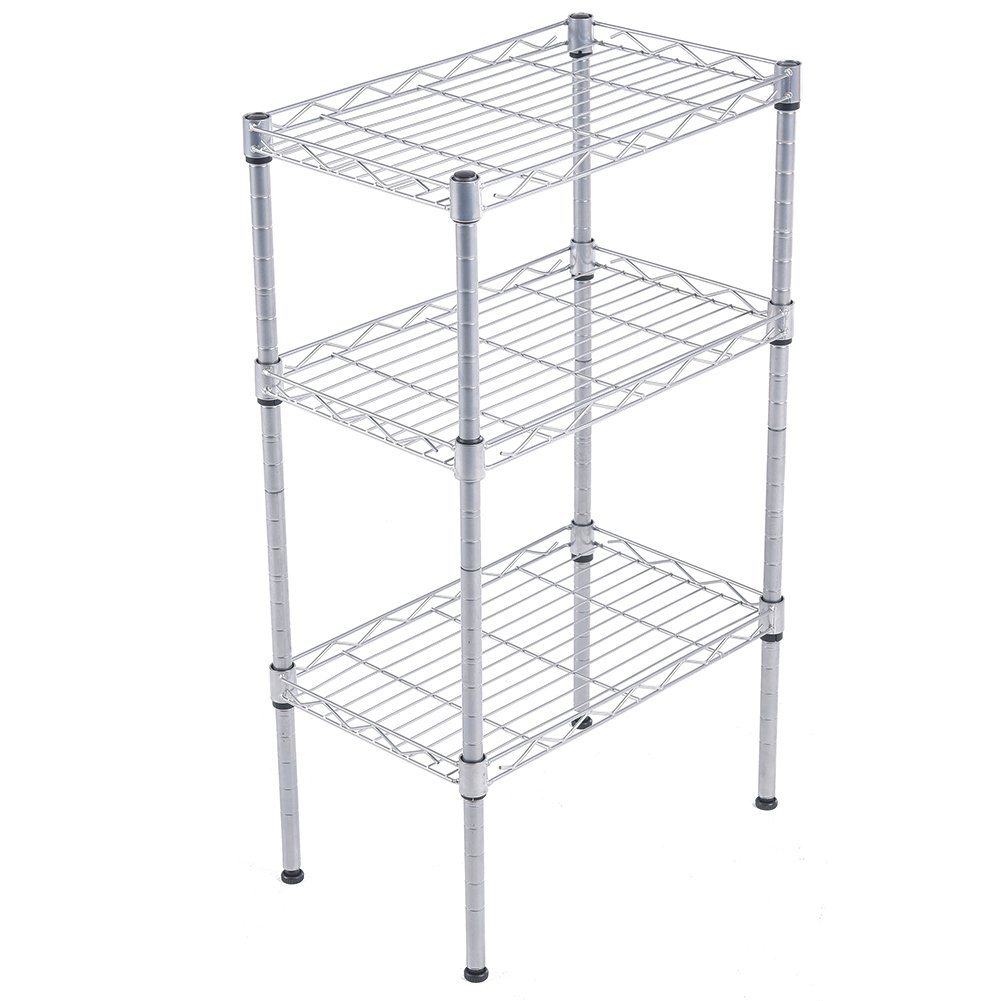 JS HOME 3-Tier Wire Shelving Rack with S Hooks and Extra Shelf Liner ...