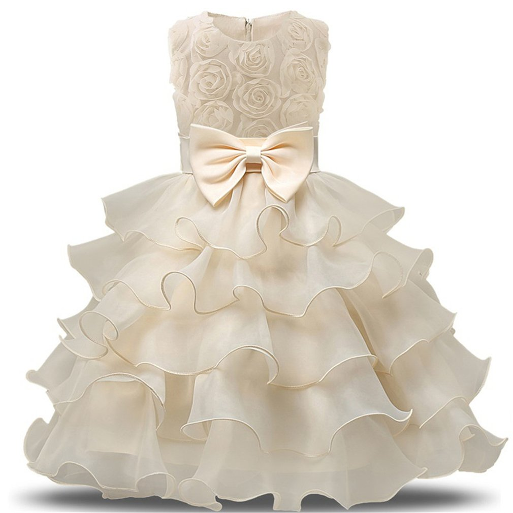 Niyage Girls Party Dress Princess Flowers Ruffles Lace Wedding Dresses Toddler Baby Pageant Tulle Tutus 12-18 M Yellowish