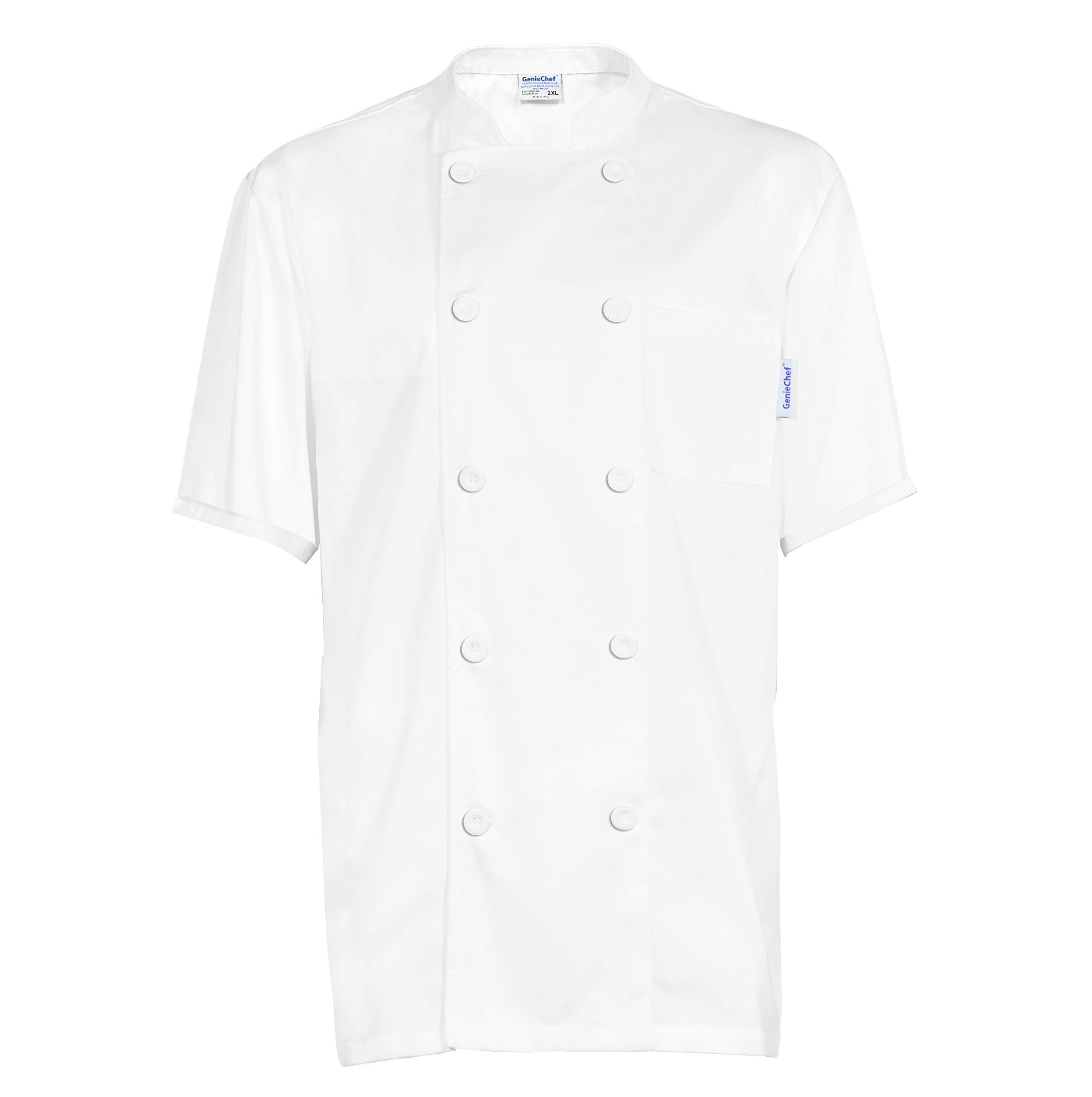 GenieChef Men's Short Sleeve Classic Chef Coat X-L White