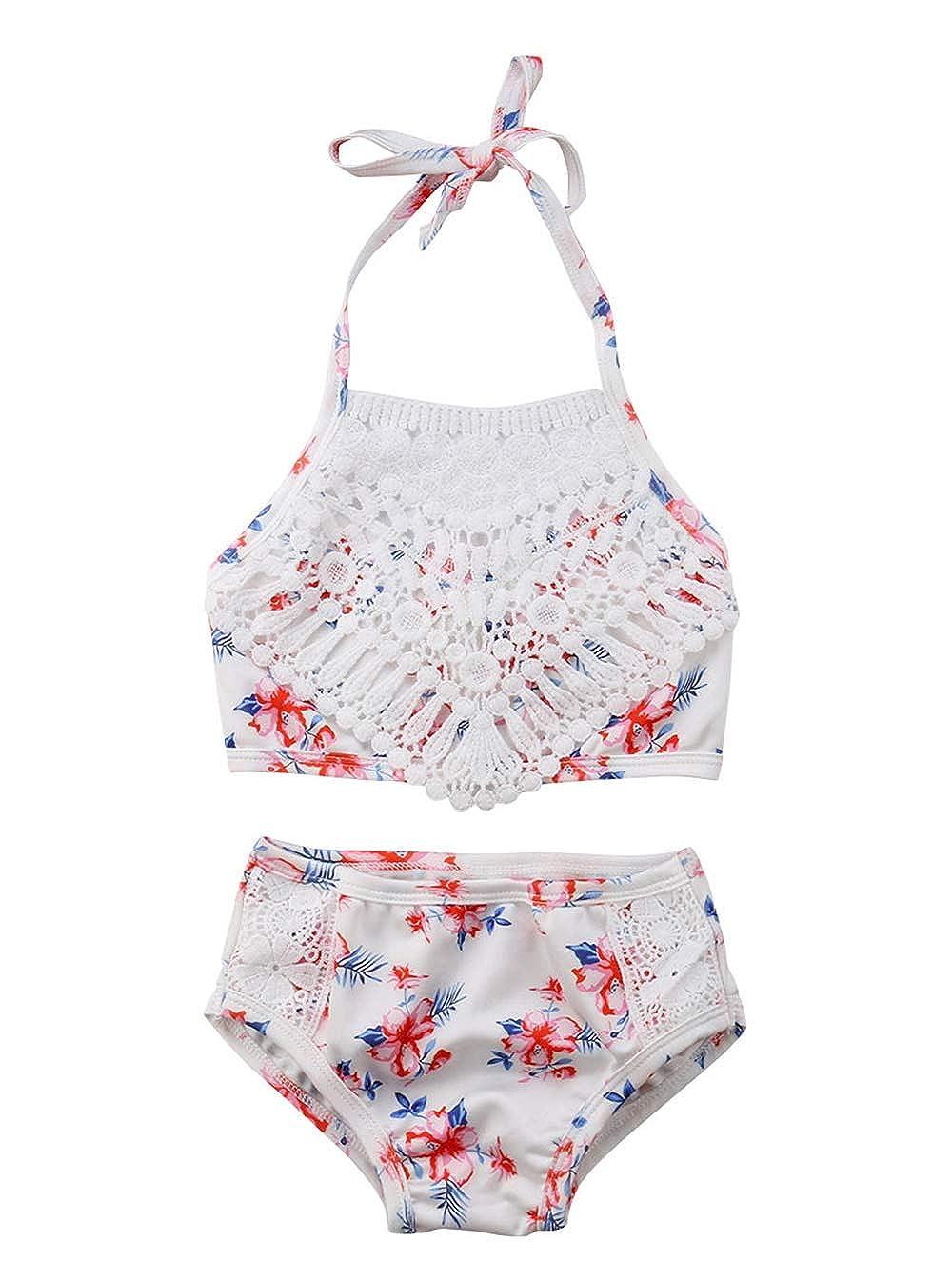 Amazon.com: Traje de baño para bebé niña con encaje floral ...