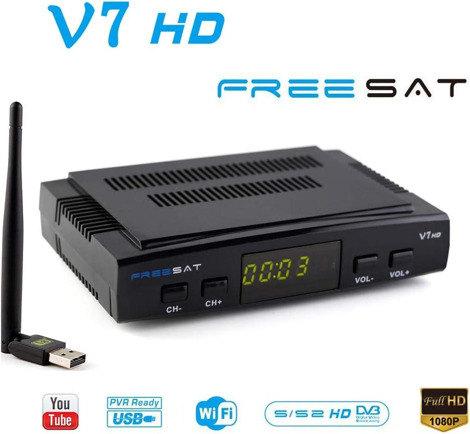 FREESAT V7 HD DVB-S2 Receptor de TV por satélite Digital Decodificador con USB WiFi Antena Receptor de Sat FTA 1080P Full HD Soporte USB PVR, CCcam, ...