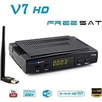 FREESAT V7 HD DVB-S2 Receptor de TV por satélite Digital Decodificador con USB WiFi Antena Receptor de Sat FTA 1080P Full HD Soporte USB PVR, CCcam, Newcam, Youtube, PowerVu, Dre & Biss clave