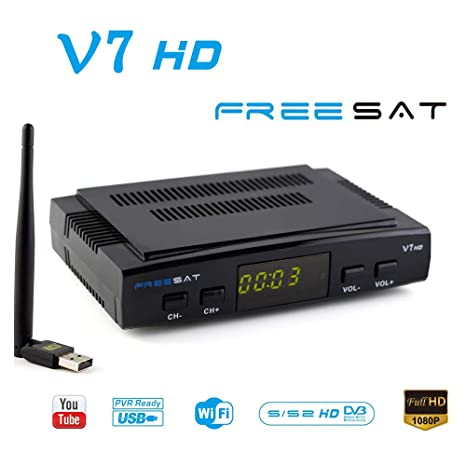 FREESAT V7 HD DVB-S2 Receptor de TV por satélite Digital Decodificador con USB WiFi Antena ...