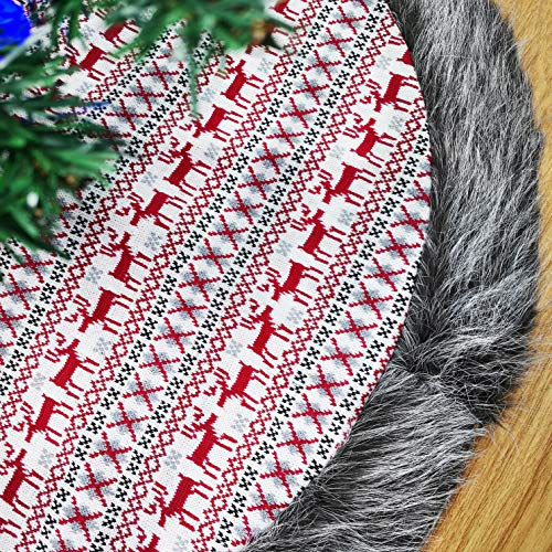(WEWILL Knitted Classic Christmas Tree Skirt 36'' Thick with Faux Fur Trim Border White Reindeer Geometric Patterns Non-Woven Christmas Tree Skirt Double Layers Holiday Decorations, Red)