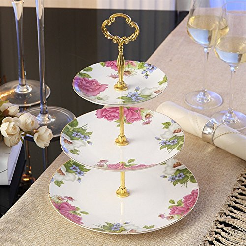 (NDHT 3 Tier Porcelain Round Cake Plate Stand Dessert Display Cakes Platter Food Rack,White & Golden,Height:14.5''/Diameter:6''&8''&10'',White & Pink)