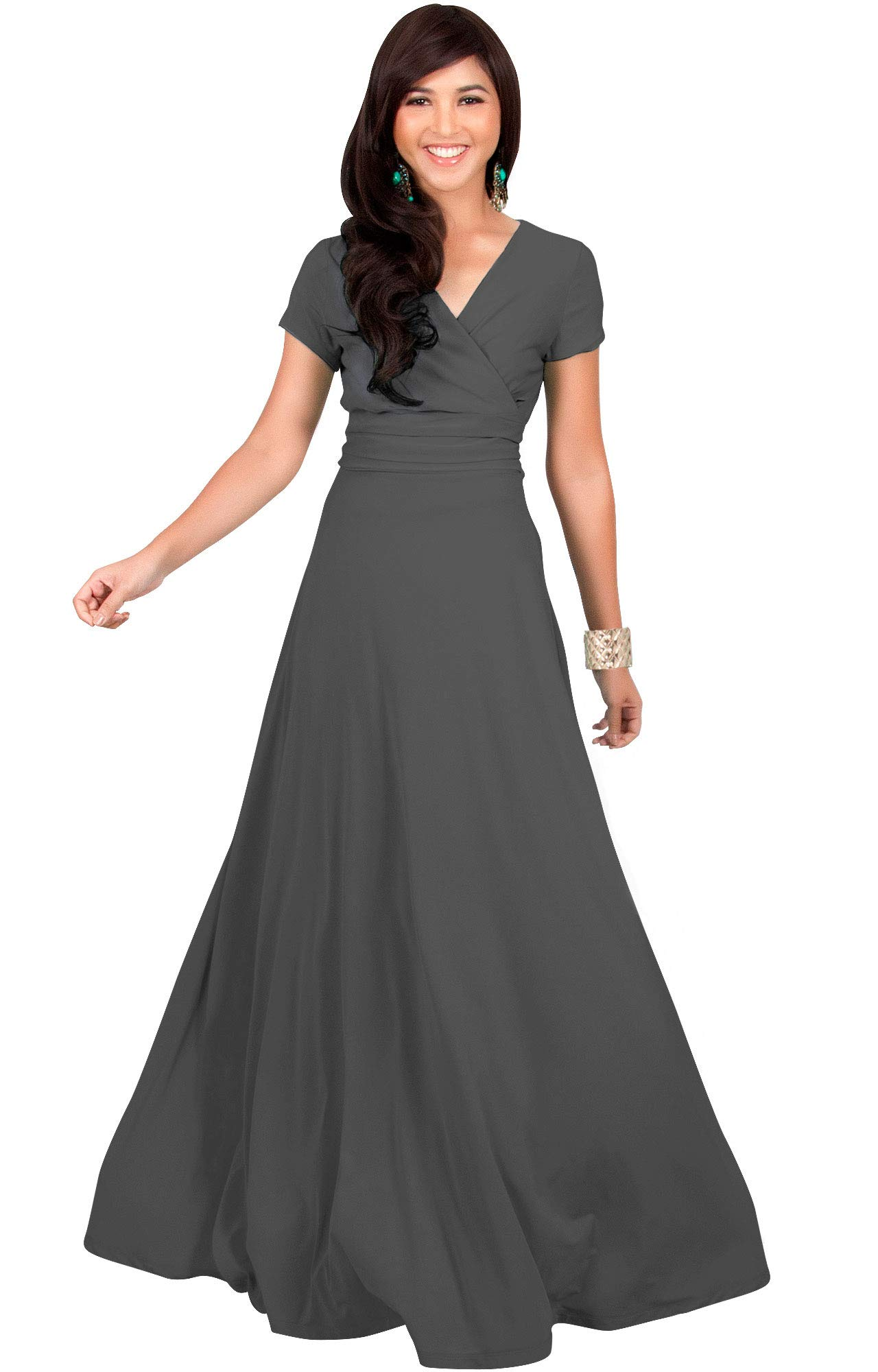 80ed17d84cde KOH KOH Womens Sexy Cap Short Sleeve V-neck Flowy Cocktail Gown - Amazon  Top Discounted Products