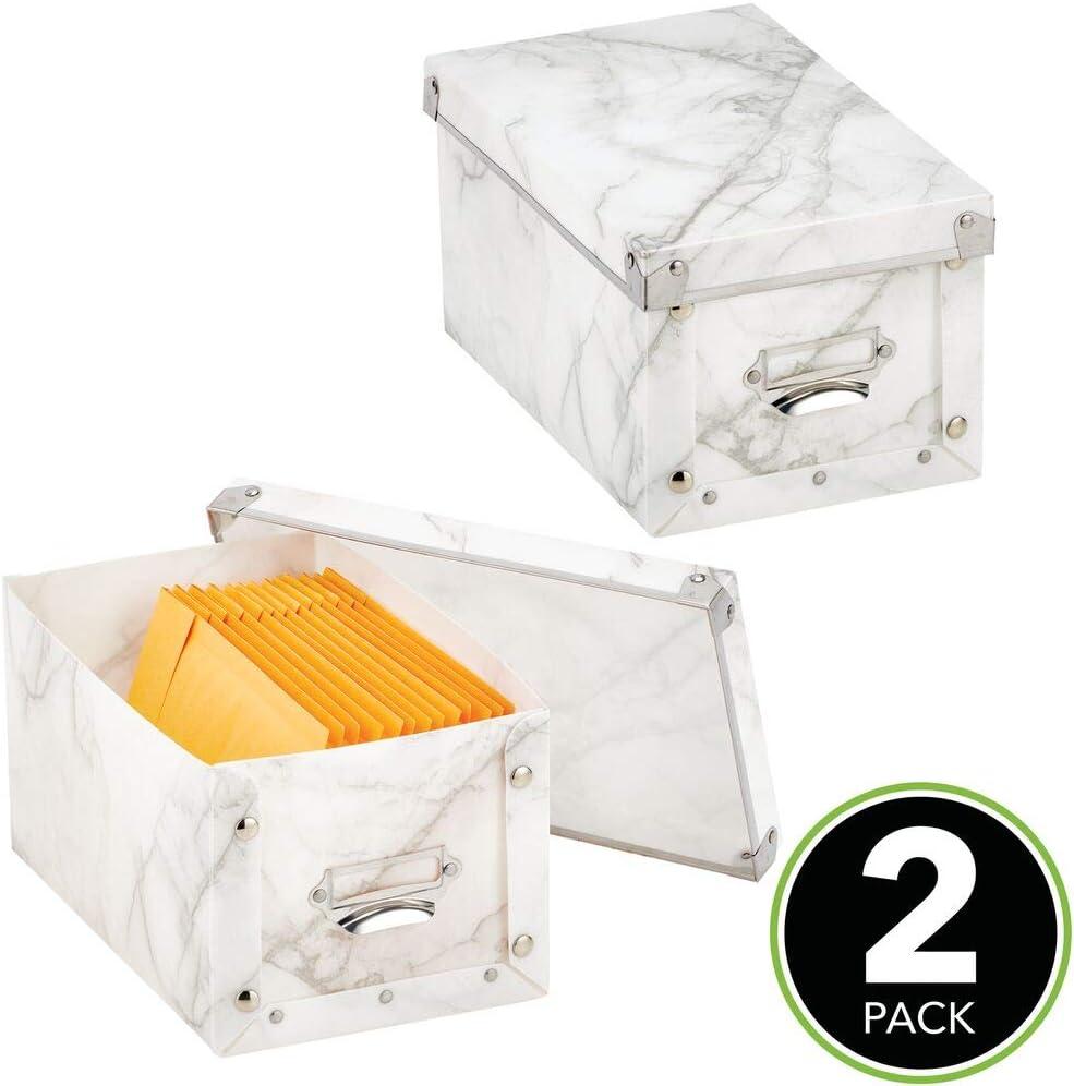 mDesign Juego de 2 Cajas de plástico con Tapa – Cajas apilables ...