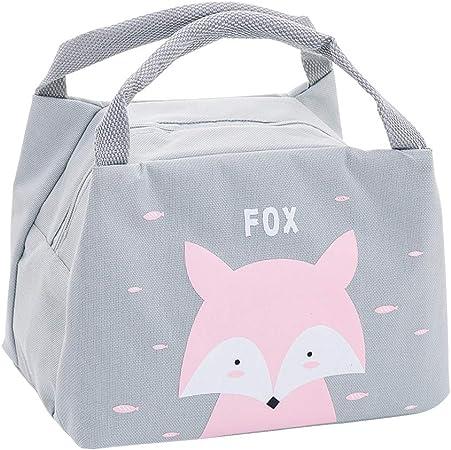 Oyachic Bolsa Termica Bolsas de Almuerzo Lunch Bag Linda Mascota Bolsas de Cremallera Bolsa de Tela Algodon Merienda Impermeable Portátil (Fox): Amazon.es: Hogar