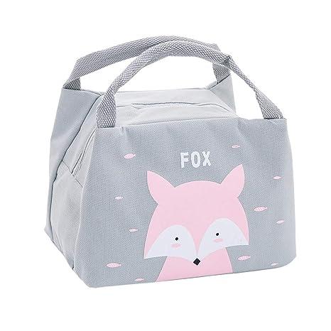 Oyachic Bolsa Termica Bolsas de Almuerzo Lunch Bag Linda Mascota Bolsas de Cremallera Bolsa de Tela Algodon Merienda Impermeable Portátil (Fox)
